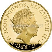 UK 1000 Pounds (Griffin of Edward III) ELIZABETH II D G REG F D 1000 POUNDS J.C coin obverse