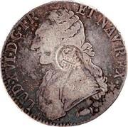Portugal 1200 Reis Luis I Countermarked over 1 Ecu ND (1887) LUD X VI D G FR ET NAVREX coin obverse