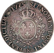 Portugal 1200 Reis Luis I Countermarked over 1 Ecu ND (1887) 1775 SITNOMEN DOMINI K BENEDICTUM coin reverse