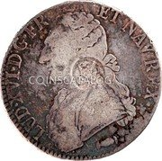 Portugal 1200 Reis (Luis I Countermarked over 1 Ecu)  coin obverse