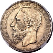 Portugal 1200 Reis Luis I Countermarked over 5 Francs ND (1887) KM# 29.10 LEOPOLD II R D BELGES SOUV DE L'ETAT INDEP DU CONGO coin obverse
