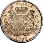 Portugal 1200 Reis Luis I Countermarked over 5 Francs ND (1887) KM# 29.10 5 FRANCS 1887 coin reverse