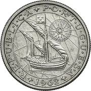 Portugal 2.50 Escudos Republic R E P Ú B L I C A P O R T U G U E S A M. NORTE SCULP MARTINS BARATA DEL. coin obverse