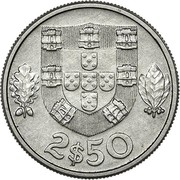 Portugal 2.50 Escudos Republic 2$50 coin reverse