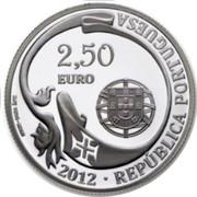 Portugal 2,50 Euro 75th Anniversary - School Ship NRP «Sagres» 2012 INCM Proof 2012 2.5 EURO BAIBA SÎME INCM REPÚBLICA PORTUGUESA coin obverse