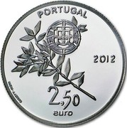 Portugal 2,50 Euro London Olympic Games 2012 Proof KM# 816b PORTUGAL 2,50 EURO 2012 INCM - J.J.BRITO coin obverse