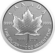 Canada 2 Dollars (25th Anniversary Maple Leaf. Our Arboreal Emblem) 9999 9999 1996 2021 CANADA FINE SILVER 1/10 OZ ARGENT PUR coin reverse