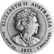 Australia 2 Dollars Year of the Ox. Antiqued 2021 P ELIZABETH II AUSTRALIA 2 OZ 9999 AG 2021 2 DOLLARS coin obverse