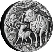 Australia 2 Dollars Year of the Ox. Antiqued 2021 P  coin reverse