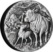 Australia 2 Dollars (Year of the Ox. Antiqued)  coin reverse