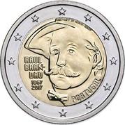 Portugal 2 Euro 150th Anniversary of the Birth of Raul Brandao 2017 INCM KM# 873 LUIS FILIPE DE ABREU INCM RAUL BRAN DÃO 1867 2017 PORTUGAL coin obverse