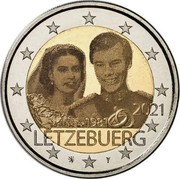 Luxembourg 2 Euro (Wedding of Grand Duke Henri and Maria Teresa) 2021 14. FEBRUAR 1981 LËTZEBUERG coin obverse