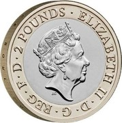 UK 2 Pounds (250th Anniversary of the Sir Walter Scott`s Birth) ELIZABETH II D G REG F D 2 POUNDS coin obverse