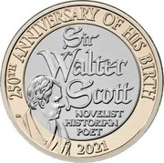 UK 2 Pounds (250th Anniversary of the Sir Walter Scott`s Birth) 250TH ANNIVERSARY OF HIS BIRTH 2021 SIR WALTER SCOTT NOVELIST HISTORIAN POET coin reverse
