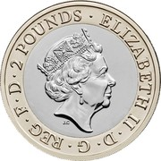 UK 2 Pounds (H. G. Wells) ELIZABETH II D G REG F D 2 POUNDS J.C coin obverse