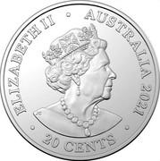 Australia 20 Cents 40th Anniversary of Album Back in Black 2021 ELIZABETH II AUSTRALIA 2021 20 CENTS coin obverse