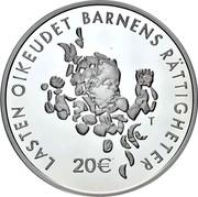 Finland 20 Euro 100 Years of The Mannerheim League for Child Welfare 2020 LASTEN OIKEUDET BARNENS RÄTTIGHETER 20€ coin obverse