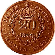 Portugal 20 Reis Countermarked issue over 20 Reis Maria II Mozambique ND (1871) PECUNIA.TOTUM.CIRCUMIT.ORBEM .20. .1840. coin obverse
