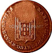 Portugal 20 Reis (Countermarked issue over 20 Réis Maria II Mozambique) MARIA II D G PORTUG ET ALG REGINA coin reverse
