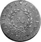 Portugal 20 Reis (Maria II in Exile) KM# Pn7 coin obverse