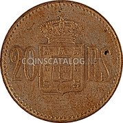 Portugal 20 Reis Kingdom Decimal coinage 20 RS coin reverse