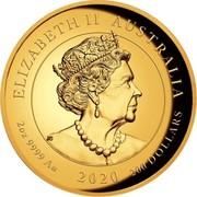 Australia 200 Dollars Double Pixiu Forbidden City Imperial Lion 2020 P ELIZABETH II AUSTRALIA 2OZ 9999 AU 2020 200 DOLLARS coin obverse
