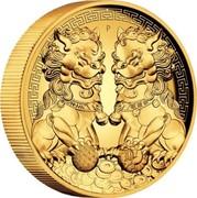 Australia 200 Dollars Double Pixiu Forbidden City Imperial Lion 2020 P  coin reverse