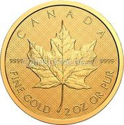 Canada 200 Dollars (The Classical Maple Leaf) CANADA FINE GOLD 2 OZ OR PUR 9999 9999 coin reverse