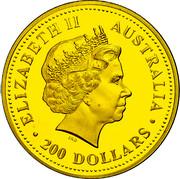 Australia 200 Dollars Two Australian Kangaroos 1999 In Sets only 200 DOLLARS AUSTRALIA ELIZABETH II coin obverse