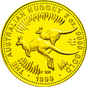 Australia 200 Dollars Two Australian Kangaroos 1999 In Sets only 1999 2OZ .9999 GOLD THE AUSTRALIAN NUGGET coin reverse