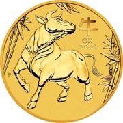 Australia 200 Dollars Year of the Ox 2021P UNC 牛 OX 2021 IJ coin reverse