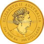 Australia 200 Dollars (Year of the Ox) ELIZABETH II AUSTRALIA JC 2 OZ 9999 AU 200 DOLLARS coin obverse