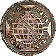Portugal 200 Reis Countermark issue over 160 Reis Maria I & Pedro III Brazil ND (1887) NATA STAB SUBQ SIGN coin reverse