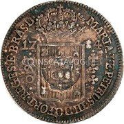 Portugal 200 Reis (Countermark issue over 160 Réis Maria I & Pedro III Brazil)  coin obverse