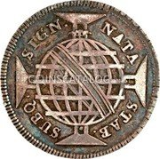Portugal 200 Reis (Countermark issue over 160 Réis Maria I & Pedro III Brazil)  coin reverse