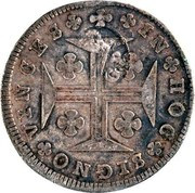 Portugal 200 Reis Countermark over 150 Reis Maria I ND (1887) IN HOC SIGNO VINCES G.P. coin reverse