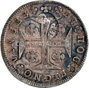 Portugal 200 Reis (Countermark over 150 Réis Maria I) IN HOC SIGNO VINCES G.P. coin reverse