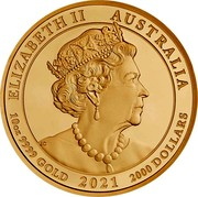 Australia 2000 Dollars The Jewelled Horse 2021P Proof ELIZABETH II AUSTRALIA 10 OZ 9999 GOLD 2021 2000 DOLLARS JC coin obverse