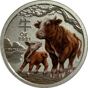 Australia 25 Cents Year of the Ox 2021P UNC Sydney ANDA 牛 OX 2021 IJ coin reverse