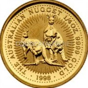 Australia 25 Dollars (Australian Nugget) 1/4OZ. 9999 GOLD 1998 THE AUSTRALIAN NUGGET coin reverse