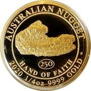 Australia 25 Dollars Hand of Faith 2020P Proof AUSTRALIAN NUGGET 250 HAND OF FAITH P 2020 1/4 OZ 9999 GOLD coin reverse