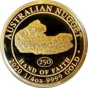 Australia 25 Dollars (Hand of Faith) AUSTRALIAN NUGGET 250 HAND OF FAITH P 2020 1/4 OZ 9999 GOLD coin reverse