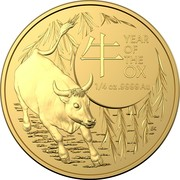 Australia 25 Dollars The Ox 2021 UNC 牛 YEAR OF THE OX 1/4 OZ .9999 AU BK coin reverse