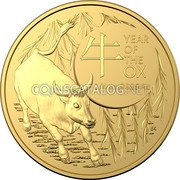 Australia 25 Dollars (The Ox) 牛 YEAR OF THE OX 1/4 OZ .9999 AU BK coin reverse