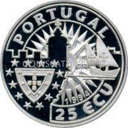 Portugal 25 ECU (Europe and the New Worlds - King Manuel I.) X# 34 PORTUGAL 25 ECU 1994 coin obverse