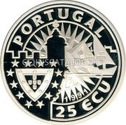 Portugal 25 ECU (Prince Henry the Navigator) X# 22 PORTUGAL 25 ECU 1991 coin obverse