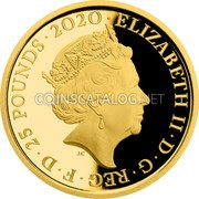 UK 25 Pounds (Battle of Britain) ELIZABETH II D G REG F D 25 POUNDS 2020 J.C coin obverse