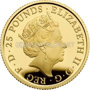 UK 25 Pounds (Griffin of Edward III) ELIZABETH II D G REG F D 25 POUNDS J.C coin obverse