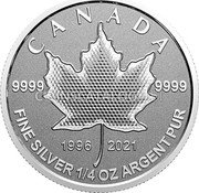 Canada 3 Dollars (25th Anniversary Maple Leaf. Our Arboreal Emblem) 9999 9999 1996 2021 CANADA FINE SILVER 1/4 OZ ARGENT PUR coin reverse