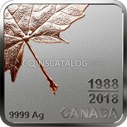 Canada 3 Dollars (Maple Leaf Quartet - Thirty Years (4th part)) CANADA 9999 AG 1988 2018 coin reverse
